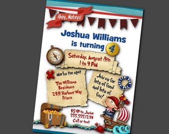 Printed Party Invitations, Invite with Envelope, Birthday, Pirates, Pirate Ship, Treasure Chest, Parrot, Treasure Map, Red and Blue