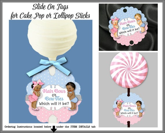 12 Tags Cake Pop Sticks Or Suckers Gender Reveal Baby Etsy