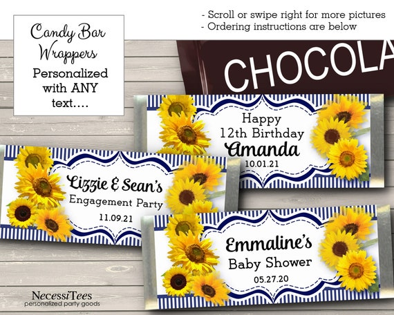 24 SUNFLOWERS WEDDING FAVORS CANDY BAR WRAPPERS PERSONALIZED
