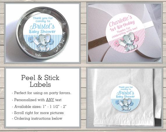 30 gender reveal baby shower stickers 1.5 round