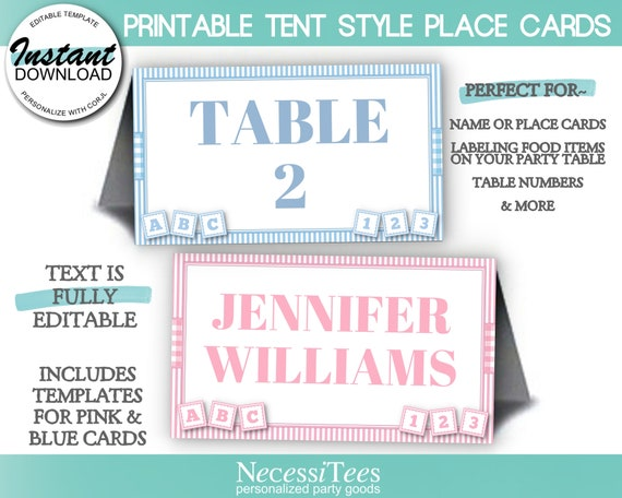 Blue Gingham Escort Cards Picnic Baby Shower Editable Printable Place Cards Tent and Flat Style Pace Cards