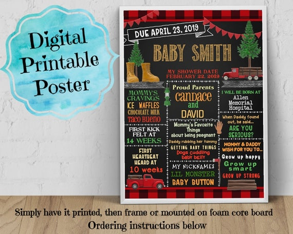 Digital Personalized Baby Shower Poster 8x10 11x14 16x20 Etsy