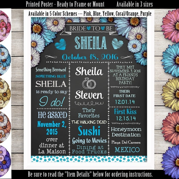Printed Ready To Frame Personalized Bridal Shower Poster 11 X 14