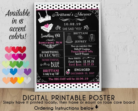 Digital Personalized Bridal Shower Poster 8 X 10 11 X 14 16 Etsy