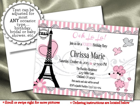 Party Invitations French Poodle Paris Eiffel Tower Pink Hearts Flower Bridal Shower Baby Birthday Digital Or Printed