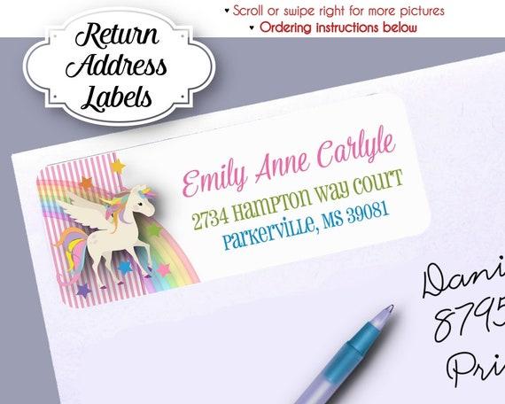 return address labels magical unicorn pony rainbows pink stripes