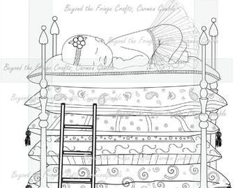 The Princess and the Pea Digital Stamp