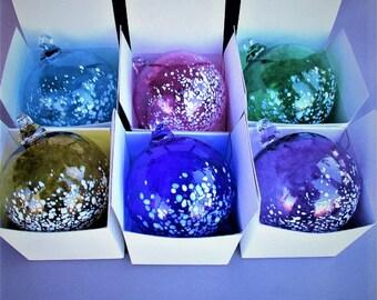 Blown Glass Christmas Ornaments/Suncatcher-Set of 6,Hyacinth,Cobalt Blue,Amber,Emerald Green,Cranberry,Aqua Color.