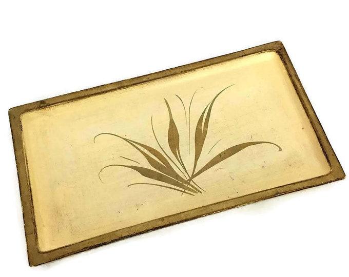Vintage Ceramic Florentine Gold Tray