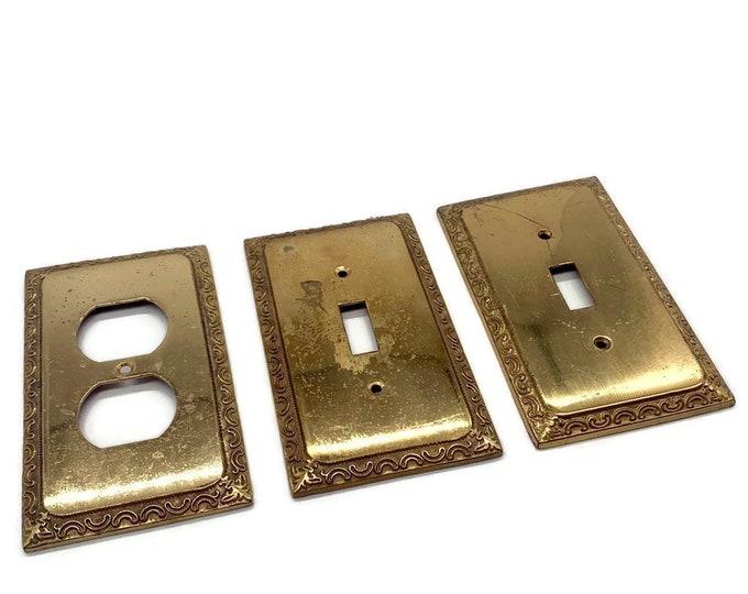 Vintage Brass Light Switch Cover - Light Switch Plate Covers - Brass Hardware - Brass Living Room Decor - Brass Wall Decor - Tarnished Brass