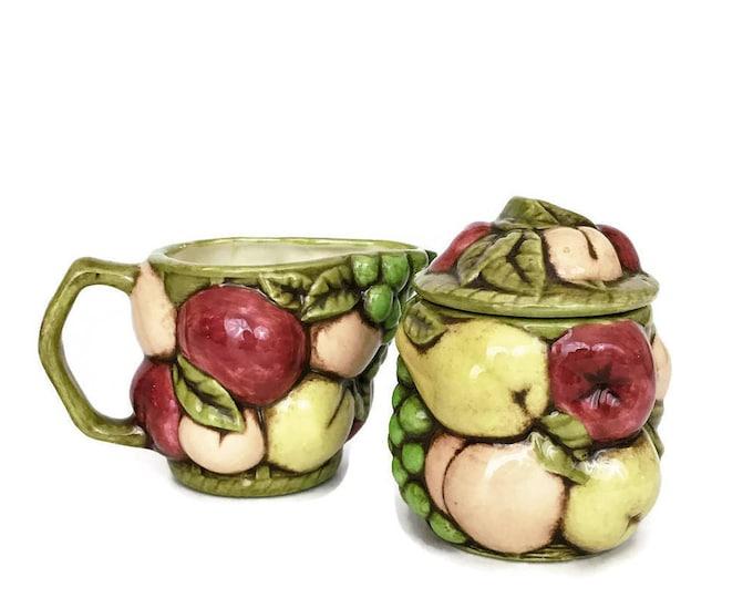 Vintage Ceramic Fruit Sugar Bowl and Creamer