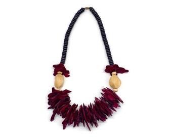 Vintage Boho Wooden Necklace