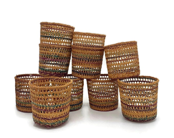 Vintage Set of 10 Natural Woven Straw Cups