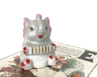 Vintage Ceramic Elephant Figurine with Accordion // Nursey Decor // Circus Animal // Baby Gift // Elephant Collection