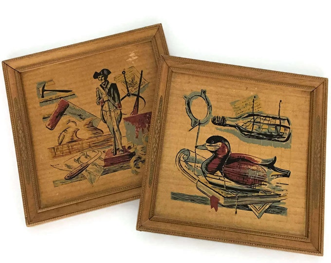 Vintage Pair of Wooden Prints // Colonial America // Boys Nursery Room Decor // Duck Soldier Ship
