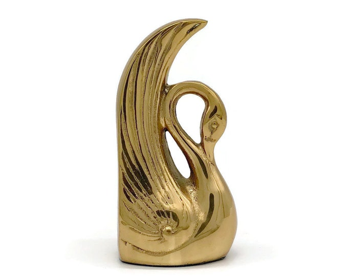 Vintage Brass Swan Bookend