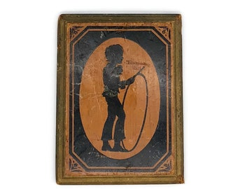 Vintage Silhouette of Boy Playing Hoop and Stick