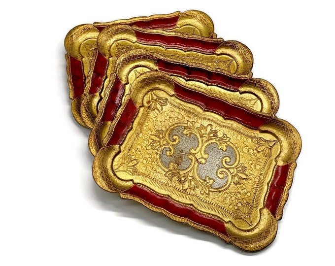 Vintage Set of 4 Florentine Serving Trays