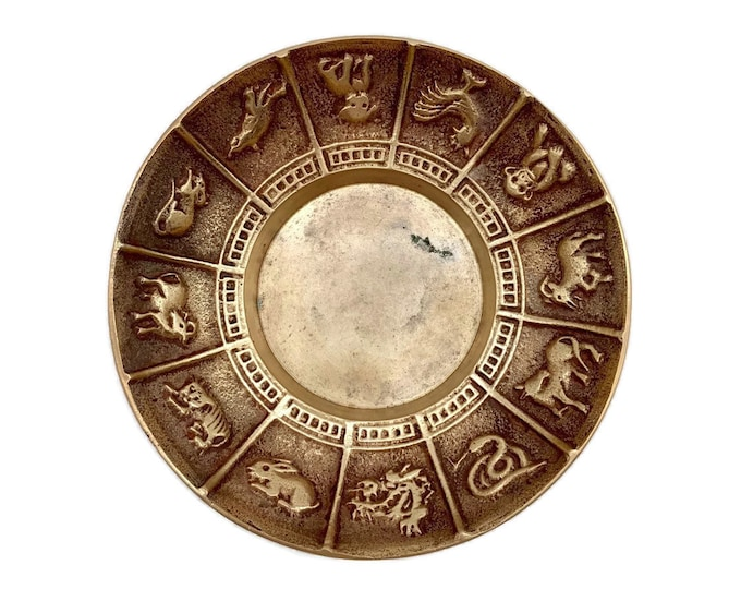 Small Vintage Zodiac Brass Dish
