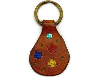 Vintage Hand Tooled Leather Key Chain