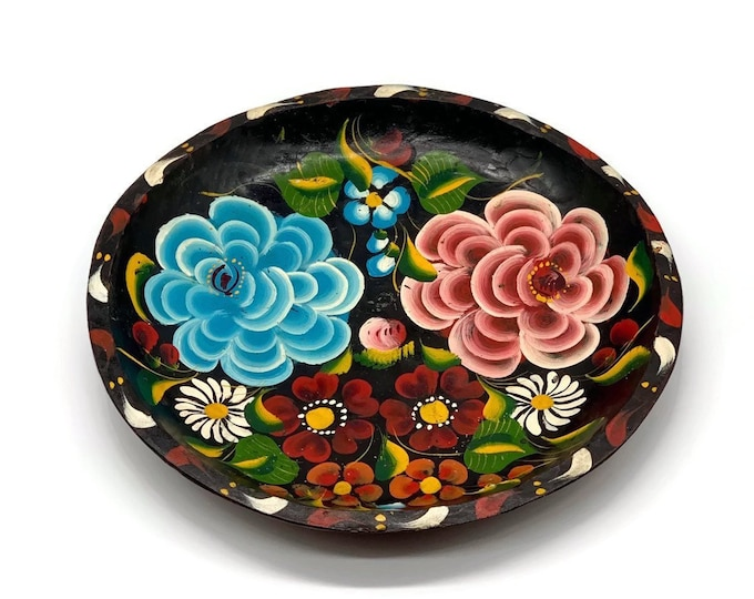 Vintage Mexican Folk Art Hand Painted Bowl