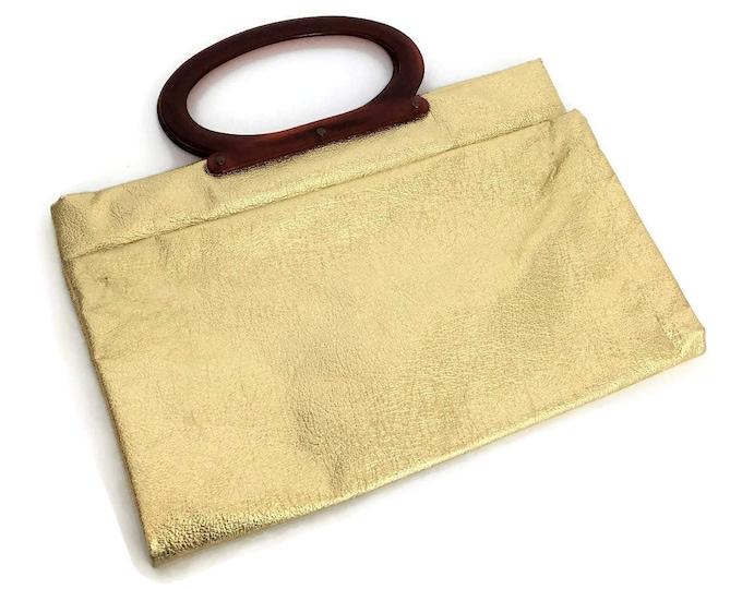 Vintage Gold Lame Clutch Purse Handbag