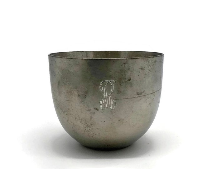 Vintage Monogrammed Pewter Silver Jefferson Cup