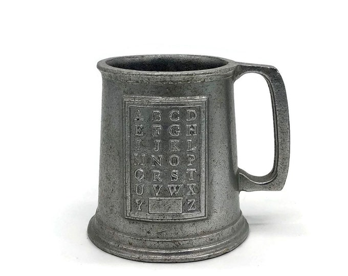 Vintage Pewter Alphabet ABC Baby Stein Tankard Mug Cup Wilton Armetale // Baby Gift // Nursery Decor