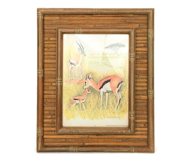 Vintage Bamboo and Grass Cloth Framed Antelope Print