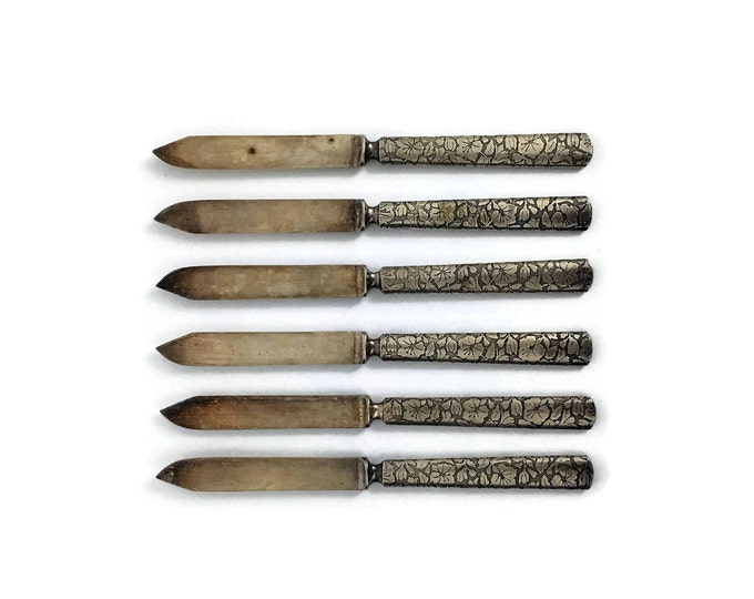 Vintage Set of 6 Small Etched Silver Plated Knives