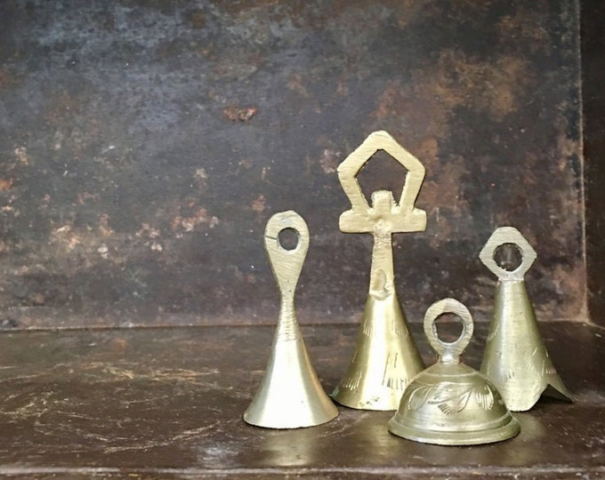 Vintage Collection Small Etched Brass Indian Hand Bells