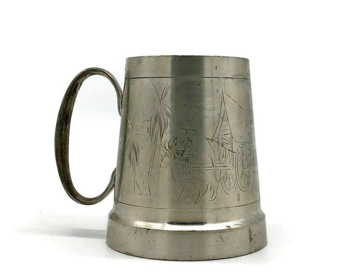 Vintage Pewter Stein with Asian Design