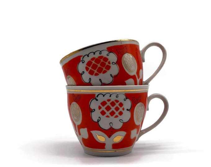 Vintage Set of Modern Floral Orange & Gold Tea Cups