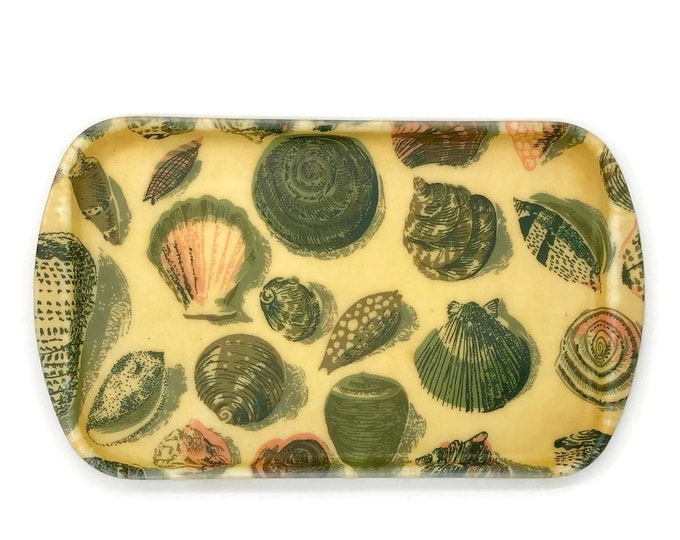 Vintage Fiberglass Seashell Bar Tray