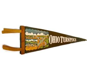 Vintage Ohio Turnpike Felt Pennant Flag