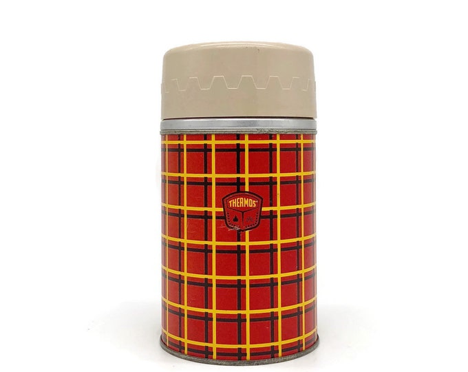 Vintage Mid Century Red Plaid Metal Thermos