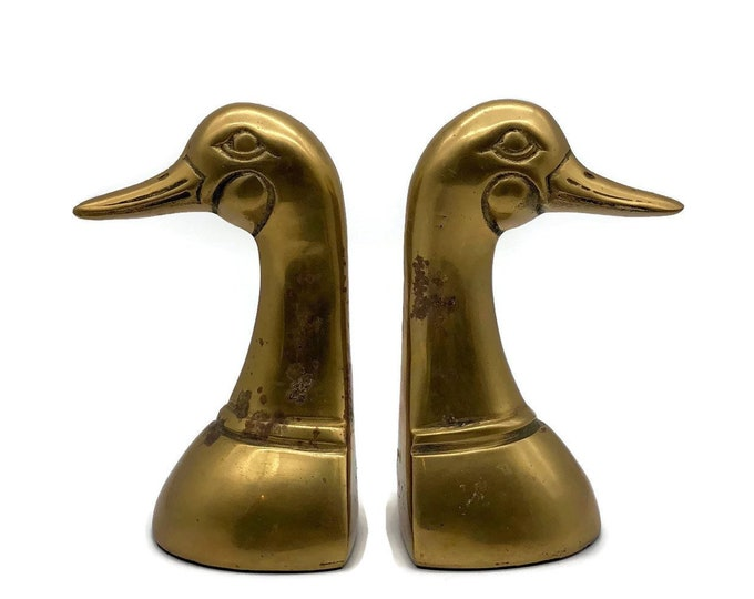 Vintage Pair of Brass Mallard Duck Head Bookends
