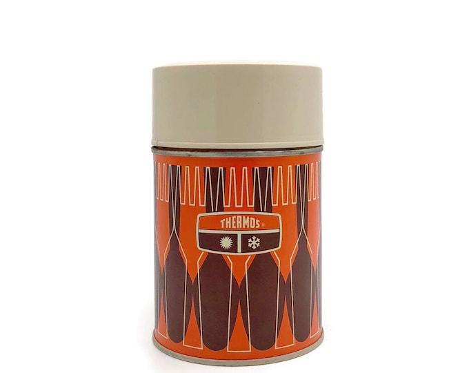 Vintage Orange and Brown Metal Thermos