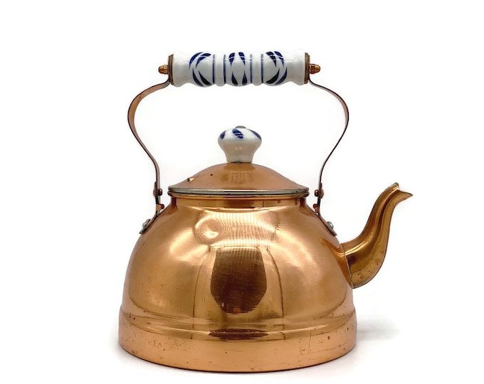 Vintage Copper Tea Kettle with Delft Blue and White Ceramic Handle and Knob