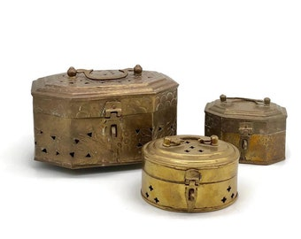 Vintage Collection Set of 3 Indian Brass Cricket Boxes