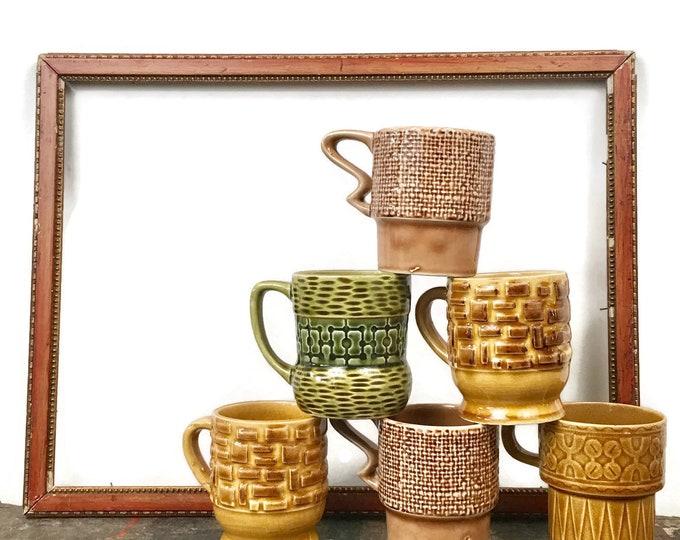 Vintage Set of 6 Japanese Ceramic Mugs