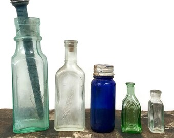 Vintage Collection of 5 Glass Bottles