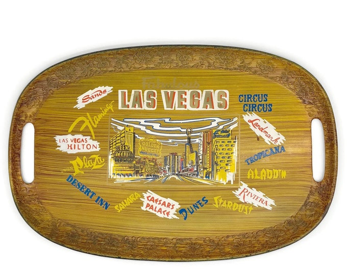 Vintage Las Vegas Tray // Serving Tray with Handles // Serving Platter // Las Vegas Wedding Gift // Souvenir Tray // Travel Tray Decor