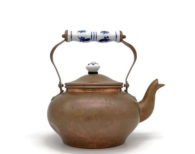 Vintage Copper Tea Kettle with Delft Blue and White Ceramic Handle