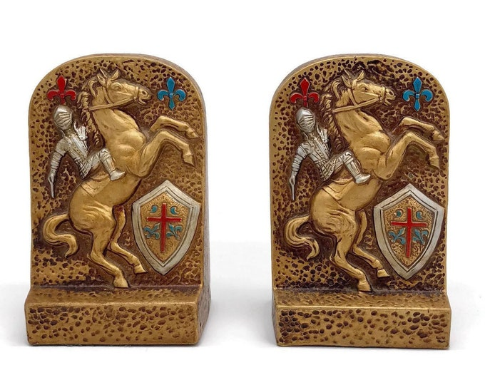 Vintage Gold Ceramic Medieval Bookends