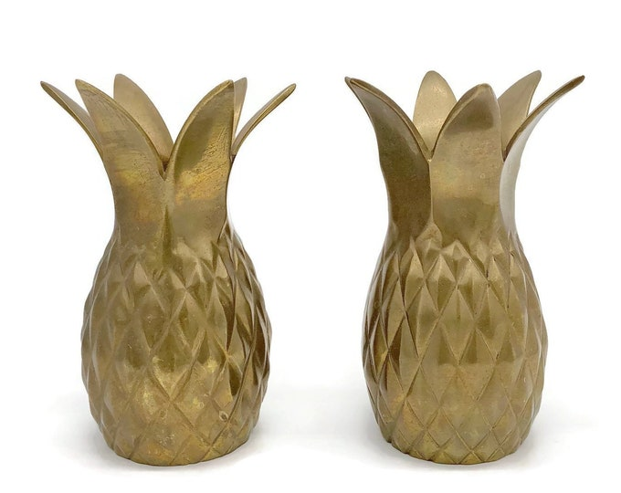 Vintage Pair Set of Brass Pineapples
