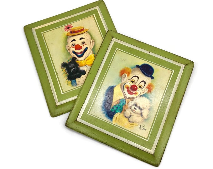 Vintage Mid Century Clown & Dog Wall Plaques