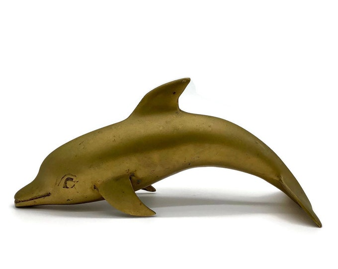 Large Vintage Brass Dolphin