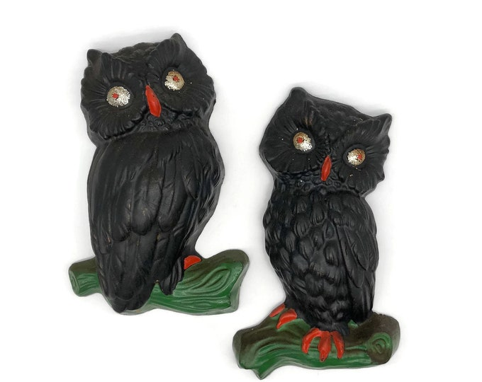Vintage Pair of Halloween Owls