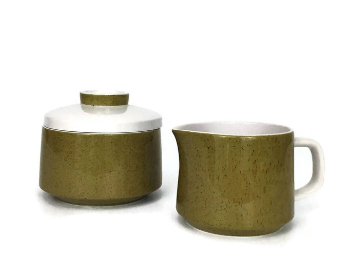 Vintage Creamer and Sugar Bowl - Cream and Sugar Set - Green Cream and Sugar - Mikasa Mediterrania